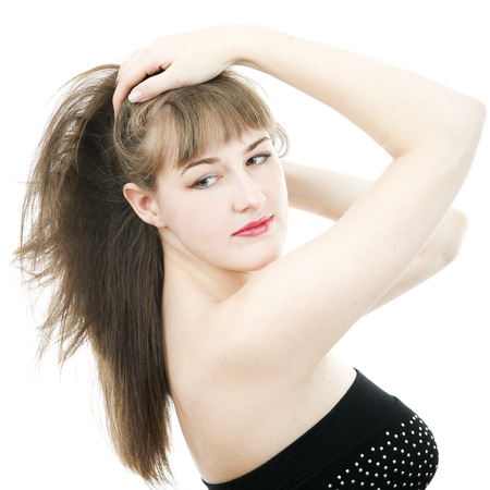 eyemakeup: Portrait of  beautiful girl isolated on white background. Stock Photo