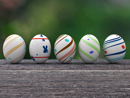 Easter colorful eggs on a wooden background. 3D render. Copy space photo