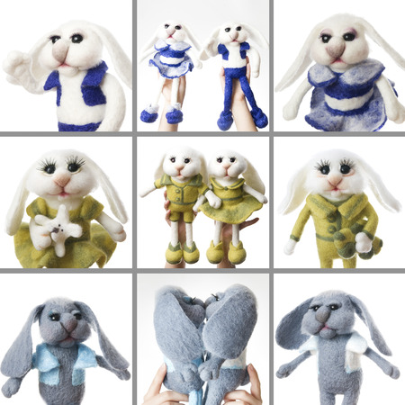 Toy rabbits. Gift for holiday. Easter bunnies on white background.. Collage of five photos. Handmade Felt. photo