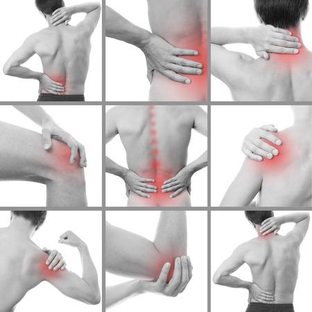 artritis: Dolor en el cuerpo de un hombre. Aislado en el fondo blanco. Collage de varias fotos