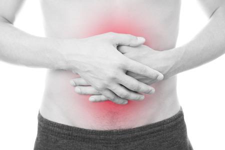 男性の腹部の痛み。