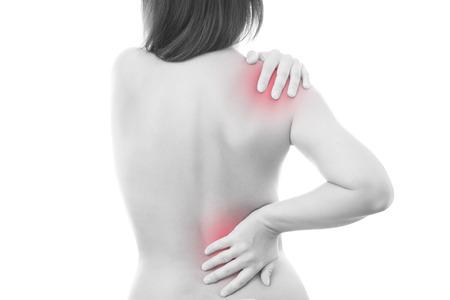 Schmerzen in einem Körper der Frau. Rückenschmerzen.