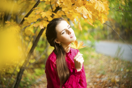 Portrait of beautiful young girl on nature. photo