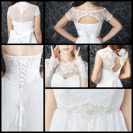 Luxury wedding dresses with a corset. Collage. Clothes made of white lace photo
