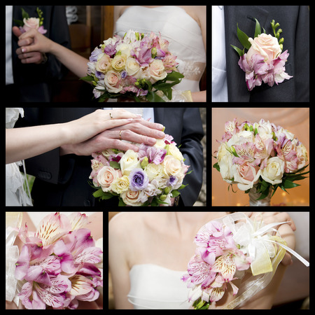Hands of groom and bride with a bouquet of orchids and roses. Wedding collage photo