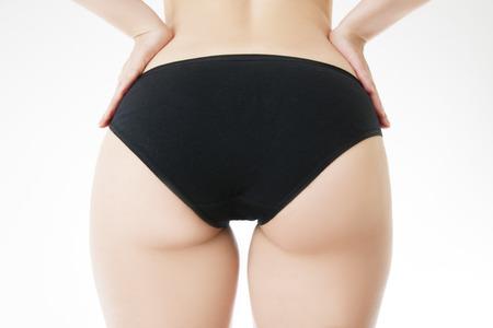 Buttocks massage against cellulite. Fatty female hips. Skin care, cellulite. Obesity photo