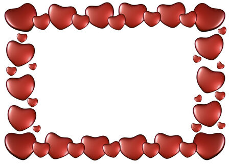 Red hearts on Valentines Day. Frame isolated on white background. 3D render. photo