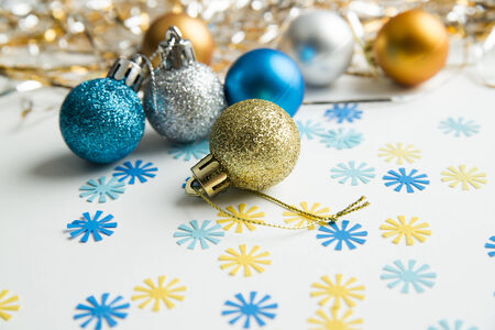 Christmas balls to decorate on a white background. New year. photo