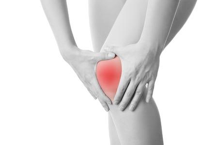 白い背景で隔離の女性の膝の痛み。 写真素材
