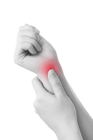 Pain in the joints of the hands. Carpal tunnel syndrome.  Isolated on white background. Care of female hands.