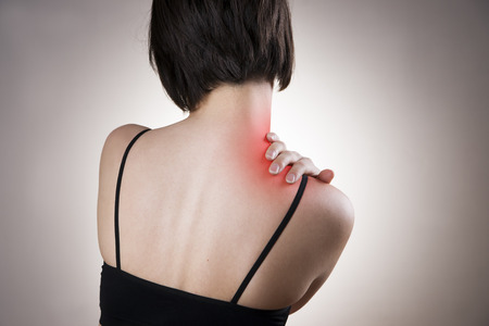 shoulders: Pain in the neck of women. Touching the neck.