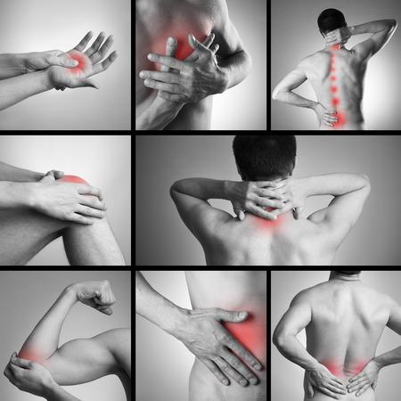 dolor muscular: El dolor en el cuerpo de un hombre en el fondo gris. Collage de varias fotos