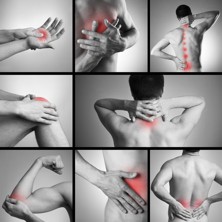 Schmerzen in den Körper eines Mannes auf grauem Hintergrund. Collage aus mehreren Fotos