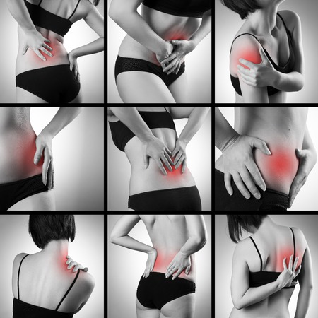 bloating: Pain in a womans body on gray background. Collage of several photos