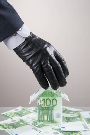 leathern: Concept - corruption, theft. Hand in glove leathern designed to steal money.