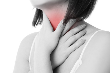 Sore throat of a women. Touching the neck. Isolated on white background. Фото со стока - 40542225