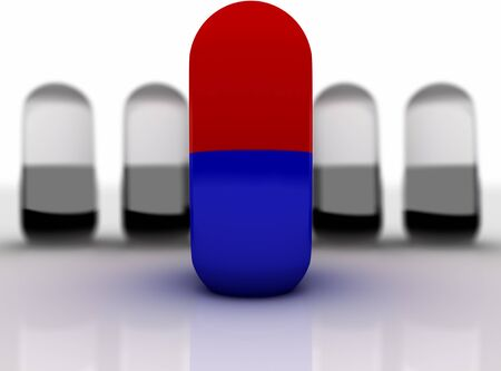 narcotic: One red-blue capsule in a pile of black-white. Pills on a white background