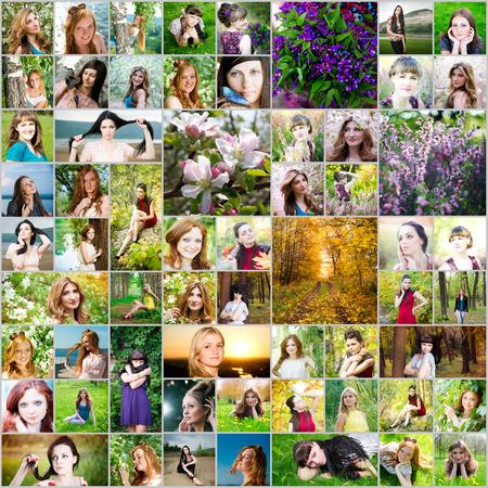 collage caras: Hermosa mujer collage hecho de 61 imágenes diferentes de las mujeres. Estaciones de primavera, verano y otoño