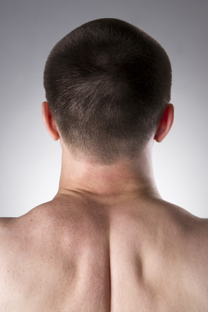 human neck: Human neck close-up on a gray background