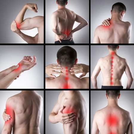 ache: Pain in a mans body on a gray background. Collage of several photos with red dots