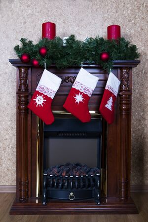 christmas stockings: Christmas stockings on fireplace