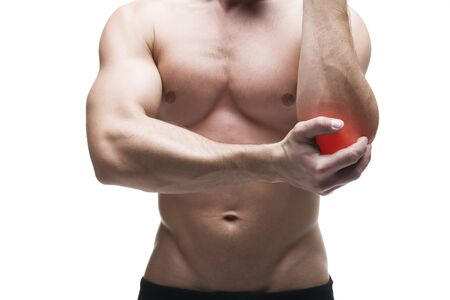 Pain in the elbow. Muscular male body. Isolated on white background with red dot
