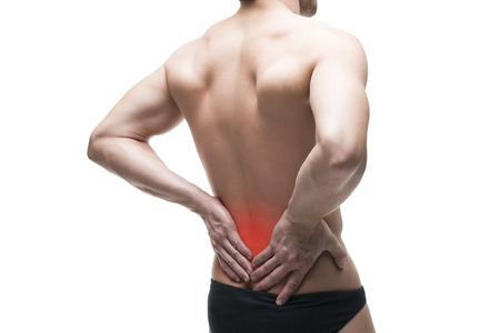 pyelonephritis: Man with backache. Pain in the human body. Muscular male body. Isolated on white background with red dot