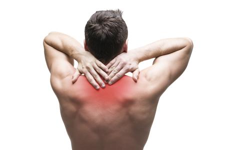 collo: Dolore al collo. L'uomo con il mal di schiena. corpo maschio muscolare. Isolato su sfondo bianco con punto rosso