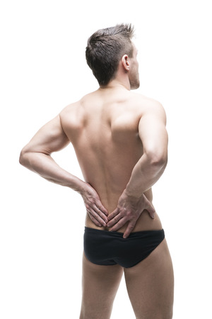 pyelonephritis: Man with backache. Pain in the human body. Muscular male body. Isolated on white background. Middle part of the body