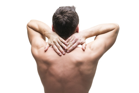 neck massage: Pain in the neck. Man with backache. Muscular male body. Isolated on white background. Middle part of the body