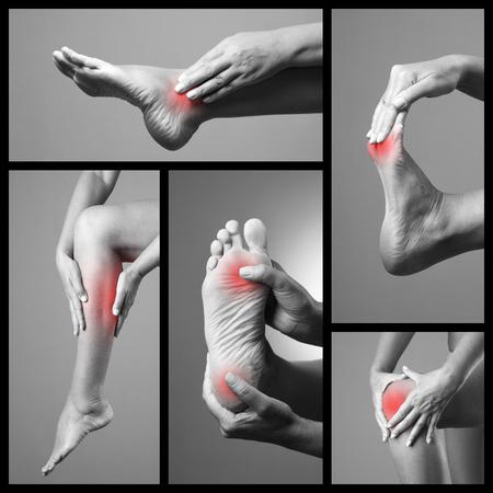 artritis: El dolor en el pie. Masaje de pies femeninos. Dolor en las piernas de la mujer. Dolor en el cuerpo humano sobre un fondo gris. Collage de las partes del cuerpo de varias fotos. foto en blanco y negro con el punto rojo