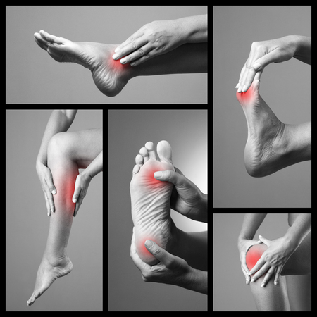 Pain in the foot. Massage of female feet. Sore on woman legs. Pain in the human body on a gray background. Collage of body parts of several photos. Black and white photo with red dot