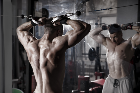 body toning: Handsome bodybuilder works out pushing up excercise in gym. Perfect muscular male body. Toning image