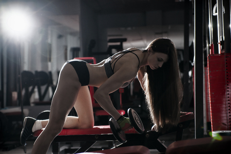 athletic wear: Young sexy fitness girl workout with dumbbells on athletic bench in the gym. Brunette fitness woman in sport wear with perfect muscular body. Backlight and toning image