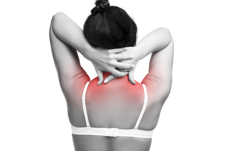 neuralgia: Young caucasian woman in bra with pain in shoulders and neck, ache in the human body, isolated on white background with red dots Stock Photo