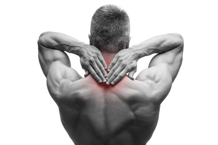 senior man on a neck pain: Middle aged man with pain in neck, muscular male body, studio isolated shot on white background with red dot, black and white photography Stock Photo