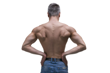 healthy men: Muscular middle-aged man posing on white background, isolated studio shot, back view, perfect male body
