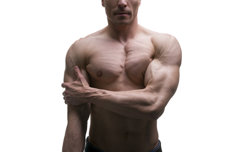 flexed: Muscular middle-aged man posing on white background, isolated studio shot, perfect male body
