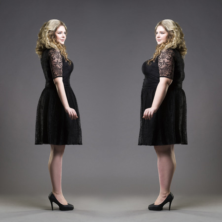 After before loss weight concept, plus size and slim models in black dresses on gray studio background