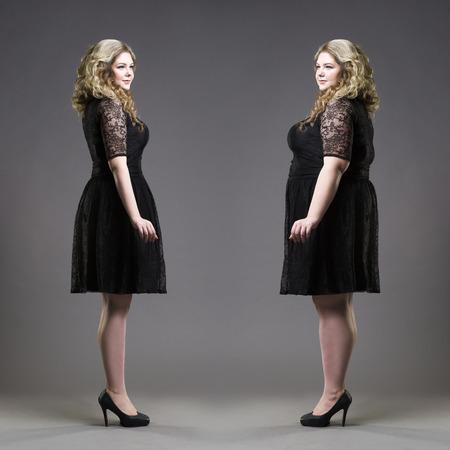 Después de concepto antes de la pérdida de peso, tamaño extra grande y delgadas modelos en vestidos de negro sobre fondo gris de estudio Foto de archivo