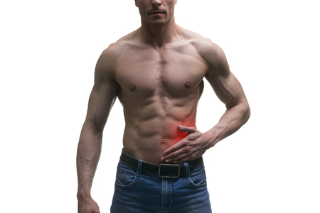 Attack of appendicitis, pain in left side of muscular male body, isolated on white background with red dot