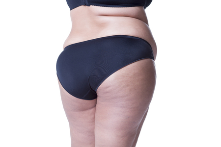 big ass: Fat female body with cellulite, fatty hips and buttocks, isolated on white background