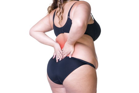 Back pain, fat woman with backache, overweight female body isolated on white background with red spots