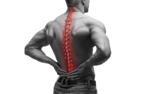 Spine pain, man with backache and ache in the neck, black and white photo with red backbone, isolated on white background