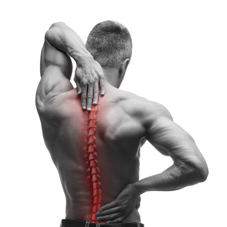 Spine pain, man with backache and ache in the neck, black and white photo with red backbone, isolated on white background Stock Photo