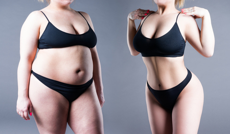 Womans body before and after weight loss on gray background Stock Photo