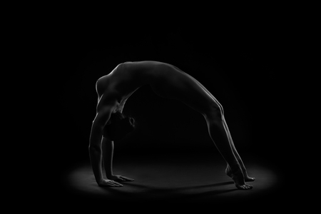 Art nude, perfect naked body, sexy young woman on dark background, black and white photography, studio shot