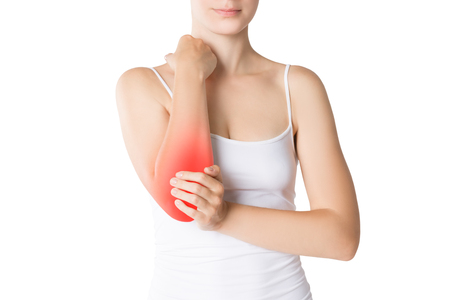 Woman with pain in elbow, joint inflammation isolated on white background