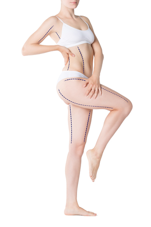Liposuction, fat and cellulite removal concept, overweight female body with painted lines and arrows, full length isolated on white background