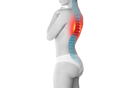 Pain in the spine, a woman with backache, injury in the human back, chiropractic treatments concept isolated on white background with highlighted skeleton